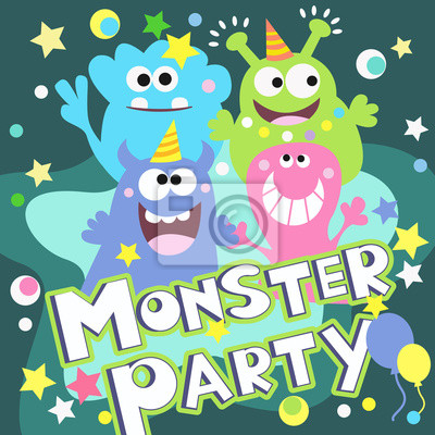 Wall mural monster party poster
