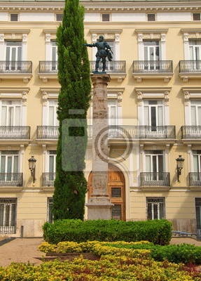 Monument on one of  historic streets of Valencia