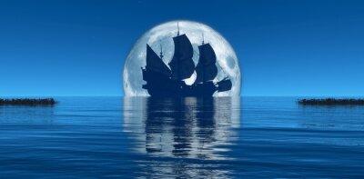 Wall mural moon and sailing ship