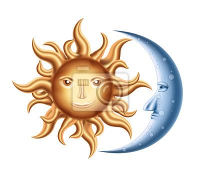 Wall mural Moon and Sun