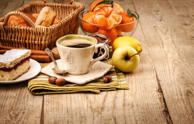 Wall mural Morning breakfast with coffee and fruits