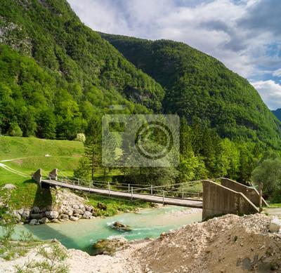 Mostek na rzece Soca,Alpy Julijskie,Słowenia