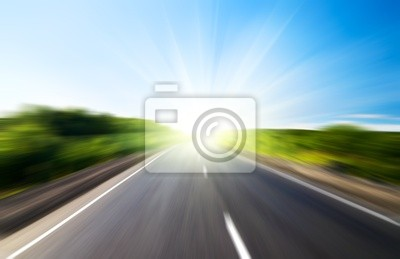 motion blur road and sun