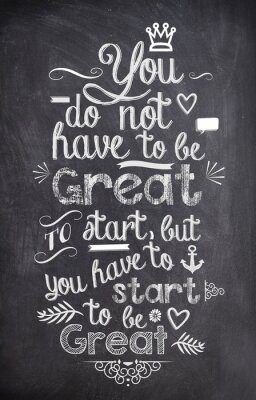 Wall mural Motivation Quote written with chalk on a black board