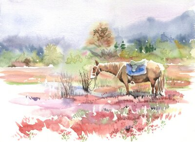 Wall mural mountain landscape, horse, watercolor