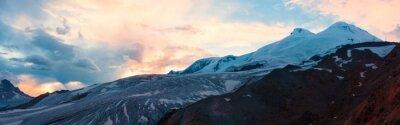 Wall mural Mountain sunset winter panorama