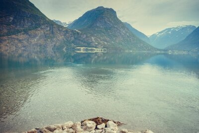 Wall mural Mountains and lake in Norway,