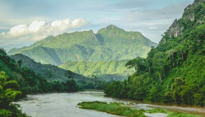 Wall mural Mountains Rainforest river landscape at North Laos