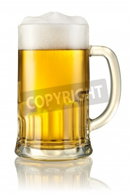 Wall mural Mug with beer isolated on white  With clipping path