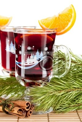 Mulled wine (Punch) with orange slices