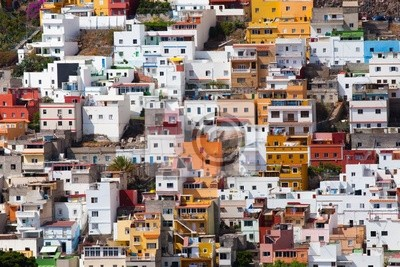 Multicolored buildings in San Andres, Tenerife Canary
