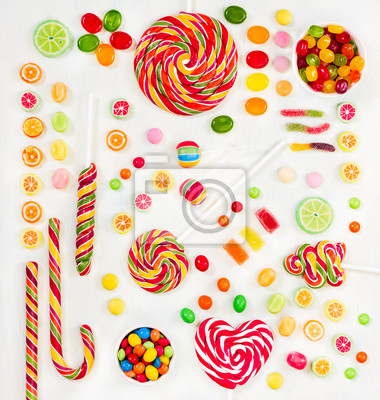 Multicolored candy. Top view. Flat lay.