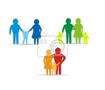 multicolored family icon design elements