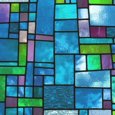 Wall mural Multicolored stained blue glass window, square format