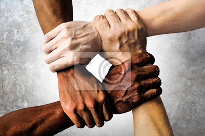 Wall mural multiracial group with black african American Caucasian and Asian hands holding each other wrist in tolerance unity love and anti racism concept