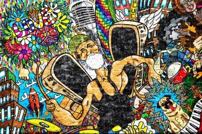 Wall mural Music collage on a large brick wall, graffiti