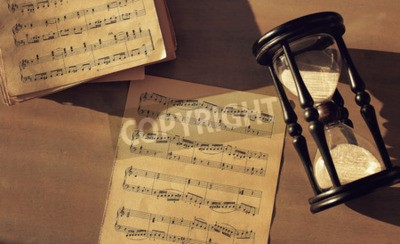 Wall mural Music notes on the table