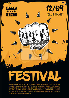 Wall mural Music poster template for rock concert. Hand with tattoo.