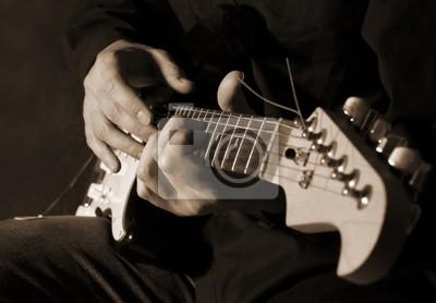 Wall mural Musician playing electric guitar