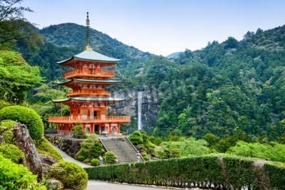 Wall mural Nachi, Japan at the pagoda of Seigantoji and Nachi no Taki waterfall.