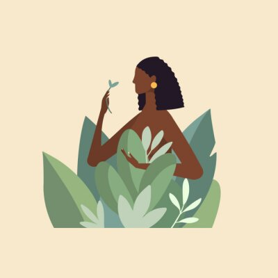 Wall mural Naked beautiful young woman in big leaves with dark skin and hair. African American girl keep organic green plant. Concept of natural cosmetics for body care and beauty. Illustration in flat design