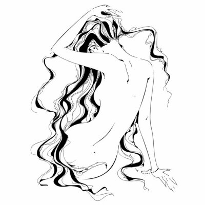 Wall mural Naked girl. Graphics. Curls. The Nude. Vector