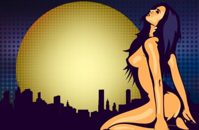 Wall mural Naked woman near the window with night city view, design vector template