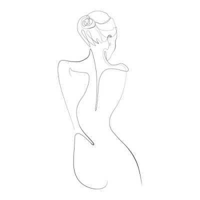 Wall mural Naked woman standing back one line drawing on white isolated background. Vector illustration
