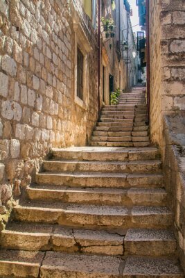 Wall mural     Narrow street and stairs in the Old Town in Dubrovnik, Croatia, Mediterranean ambient