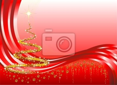 Natale Albero Astratto Oro-Christmas Abstract Background-Vector