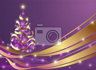 Wall mural Natale Albero di Stelle-Christmas Stars Tree Background-Vector