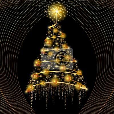 Natale Albero Oro Astratto-Golden Abstract Christmas Tree-2
