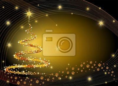 Natale Albero Oro Sfondo-Golden Christmas Tree Background
