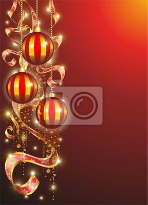 Natale Cartolina di Auguri-Christmas Ornaments Card-Vector