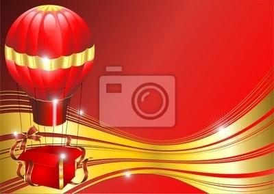 Natale Mongolfiera Sfondo-Christmas Fire Balloon-Vector