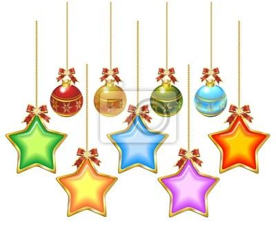 Natale Ornamenti Stelle e Palle-Christmas Ornaments-Vector