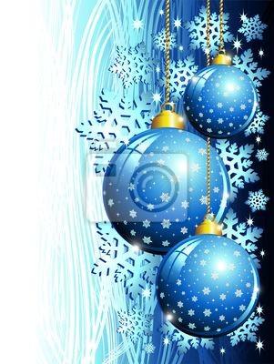 Natale Sfondo Blu-Christmas Blue Ornaments Background