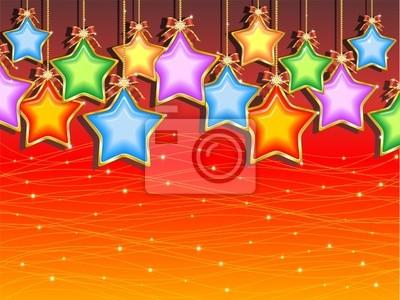 Natale Sfondo di Stelle Colorate-Christmas Stars Background-2
