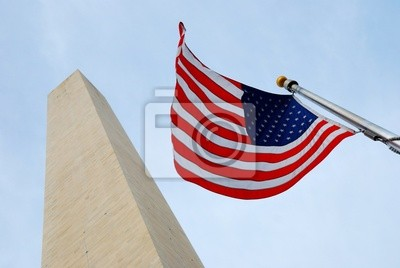 National flag and George Washington Monument.