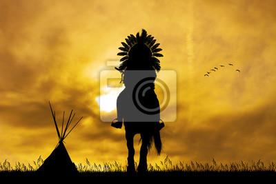 Wall mural Native American Indian on horseback at sunset