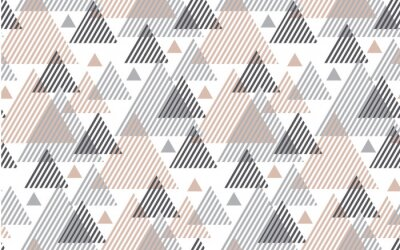 Wall mural Natural baige and gray colors modern style vector illustration for surface design. Abstract seamless pattern with striped triangle motif.