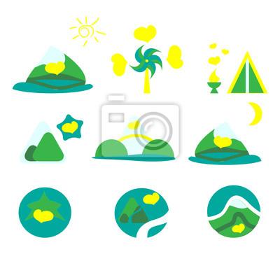 Nature, tourism and mountains icon set
