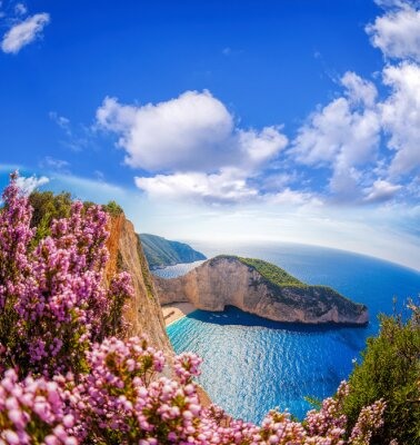 Wall mural Navagio beach with shipwreck and flowers against blue sky on Zakynthos island, Greece