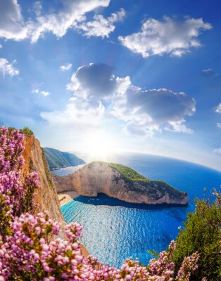 Wall mural Navagio beach with shipwreck and flowers against sunset, Zakynthos island, Greece