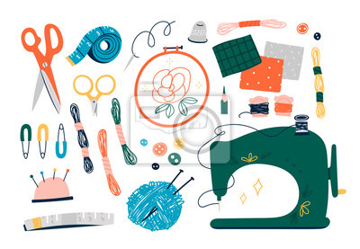 Wall mural Needlework concept. Various sewing tools. Needles, scissors, yarn, sewing machine, buttons, spools, threads etc. Hand drawn colored vector set. Cartoon style, flat design. All elements are isolated