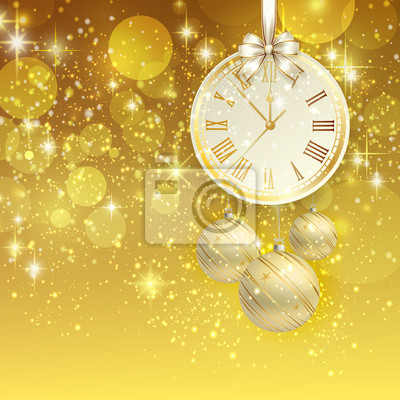 New year vector background with golden clock