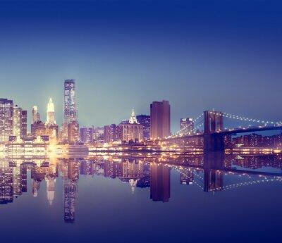 Wall mural New York City Lights Scenic Bridge View Concept
