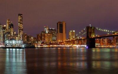 Wall mural New York City manhattan buildings skyline night evening