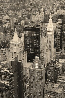 New York City Manhattan downtown in black and white