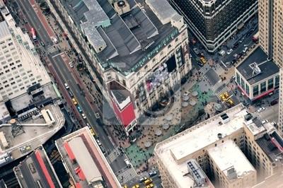 New York City Manhattan street aerial view